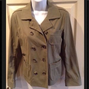THEORY Julian Double Breasted Blazer Olive Green